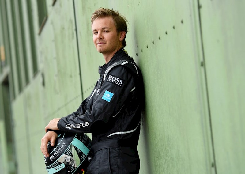former racing driver and Formula E shareholder Nico Rosberg leans against a wall
