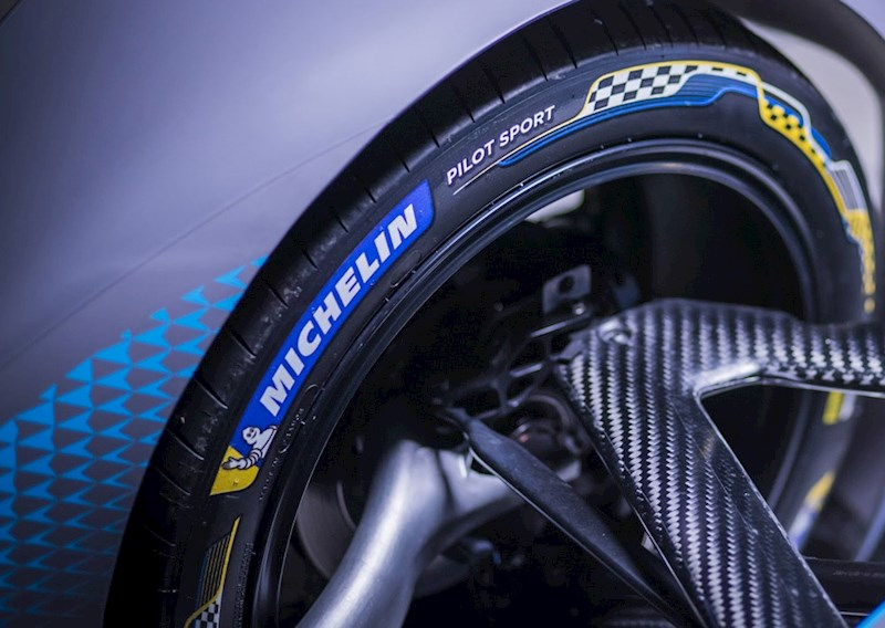 close up of a Michelin tyre fitted to a Formula E racing car