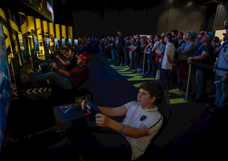 fans driving in the Gaminz Zone of the Allianz E-Village in the E-Race
